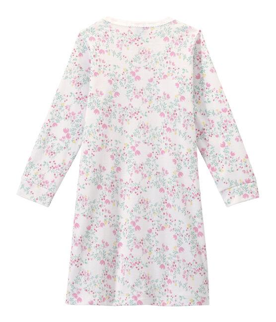 Langärmeliges Mädchen-Nachthemd mit Print weiss Ecume / weiss Multico