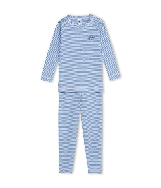 Jungen-Schlafanzug mit Milleraies-Ringelmuster blau Alaska / weiss Ecume