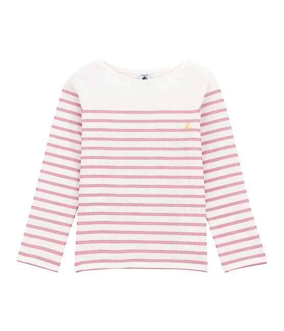 Mädchen-Langarmshirt weiss Marshmallow / rosa Babylone