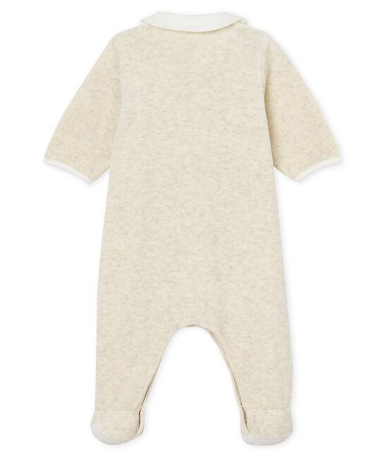 Baby-strampler und latz unisex aus baumwoll-samt grau Montelimar Chine