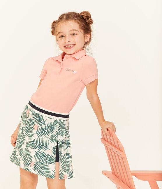 Kurzärmeliges Kinder-Polohemd Mädchen weiss Marshmallow