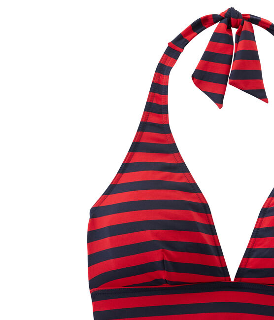Einteiliger, marine-gestreifter Damen Badeanzug blau Smoking / rot Terkuit