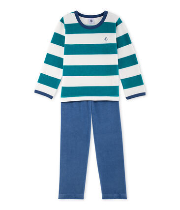 Gestreifter Jungen-Schlafanzug aus Nicki