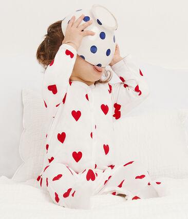 Baby-Strampler aus Molton für Mädchen weiss Marshmallow / rot Terkuit