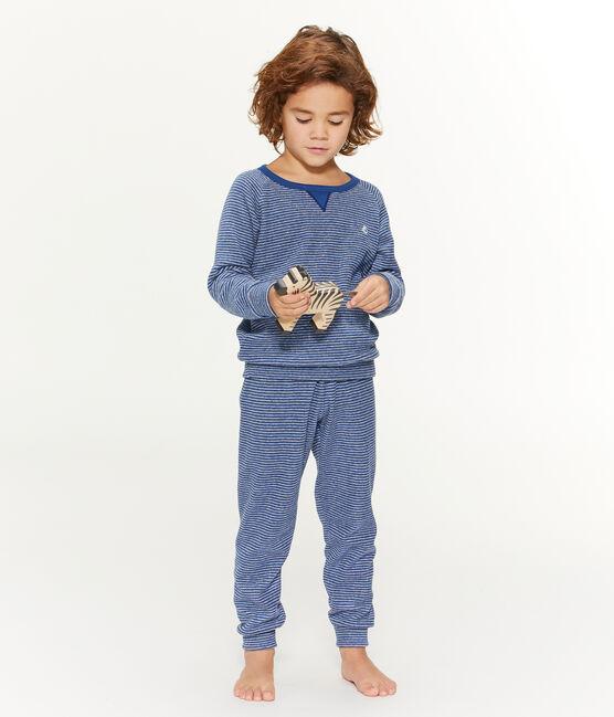 Pyjama aus angerautem, extra warmem Bouclé-Frottier für kleine Jungen blau Major / grau Subway