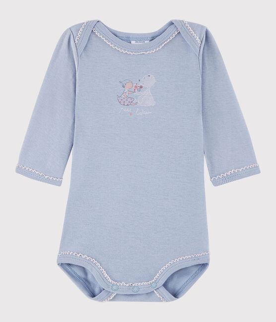 Langärmeliger Baby-Body Mädchen blau Vanais