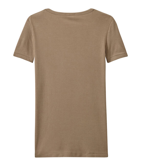 Damen-T-Shirt mit V-Ausschnitt aus Original-Rippstrick braun Shitake