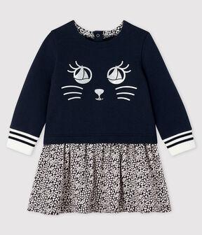 Langärmeliges Baby-Kleid für Mädchen blau Smoking / weiss Marshmallow