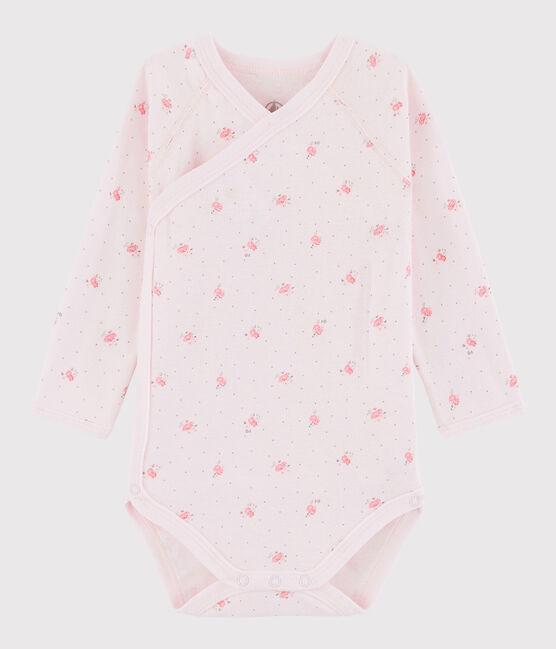 Langärmeliger Baby-Body in Wickelform Mädchen rosa Vienne / weiss Multico