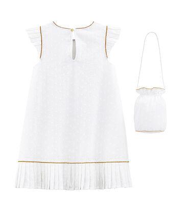 Kurzärmeliges Mädchen-Festtagskleid und Tasche weiss Ecume