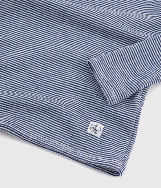 Langärmeliges T-Shirt mit Ringelmuster aus Wolle und Baumwolle für Kinder blau Medieval / weiss Marshmallow
