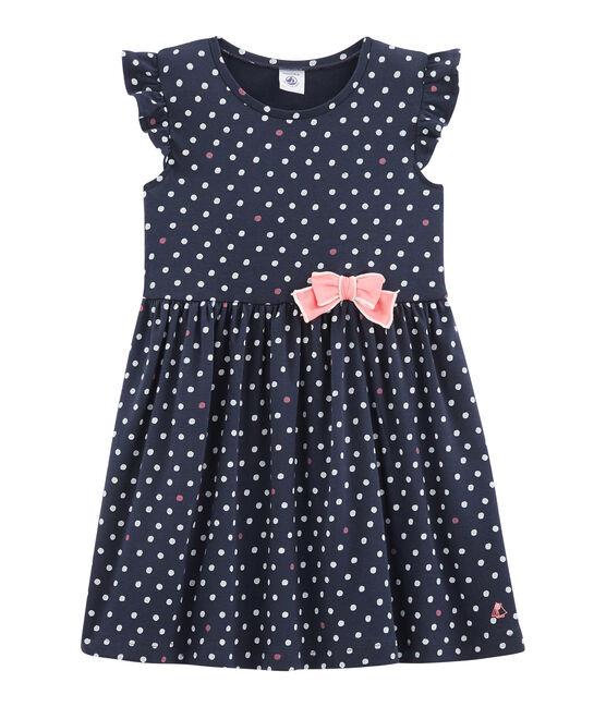 Kinder-Kleid für Mädchen blau Smoking / weiss Multico