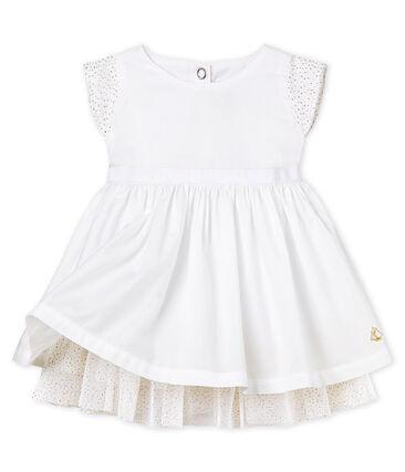 Kurzärmeliges Baby-Festtagskleid Mädchen weiss Ecume
