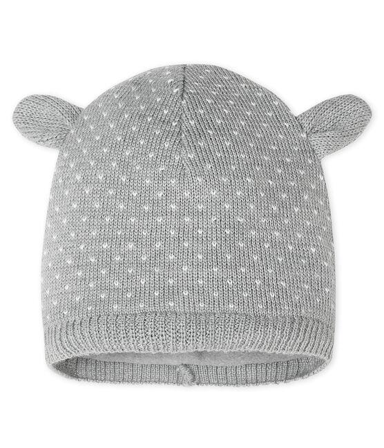 Baby-Mütze unisex mit Fleecefutter grau Subway / weiss Marshmallow