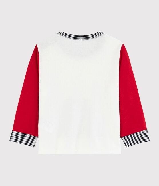 Colorblock-Baby-T-Shirt für Jungen weiss Marshmallow / rot Terkuit