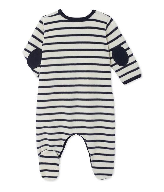 Baby-Strampler aus Samt beige Coquille / blau Smoking
