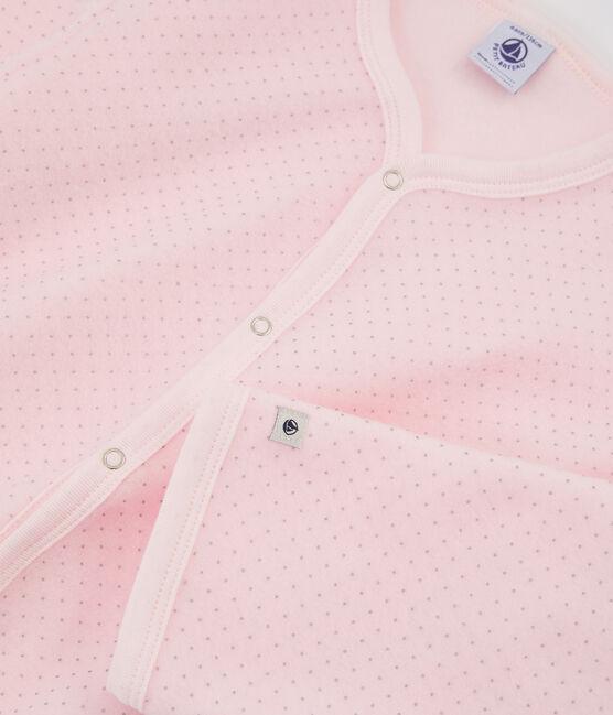 Fleece-Overall für Mädchen rosa Vienne / grau Mistigri