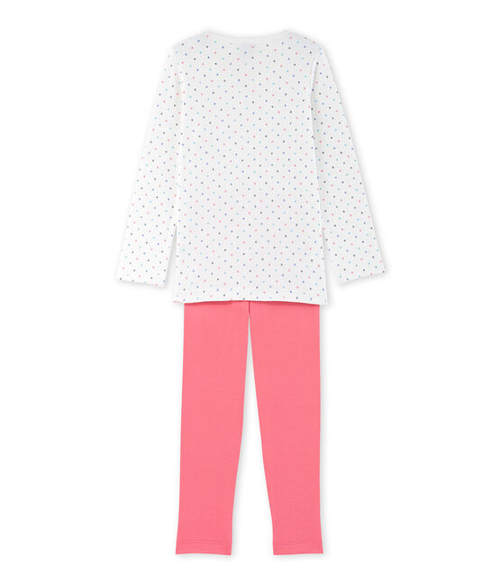Gepunkteter Mädchen-Schlafanzug weiss Lait / rot Carmen