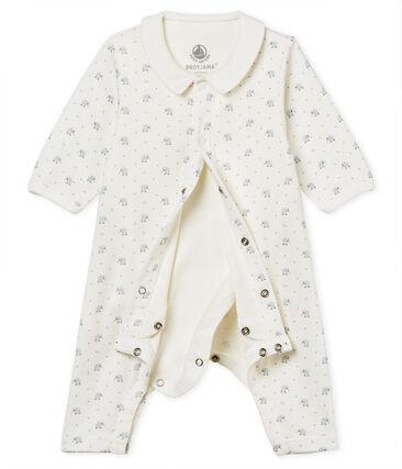 Gemusterter baby-bodyjama ohne füsse jungen 1x1-gerippt weiss Marshmallow / weiss Multico