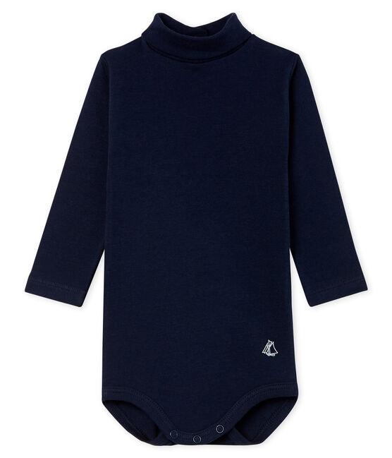 Langärmeliger Baby-Body mit Rollkragen, Unisex blau Smoking