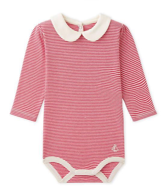 Baby-Mädchen-Body mit Milleraies-Ringelmuster rosa Flashy / beige Coquille