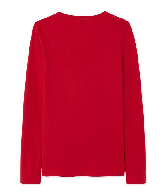 Damen-Langarmshirt mit V-Ausschnitt rot Mars