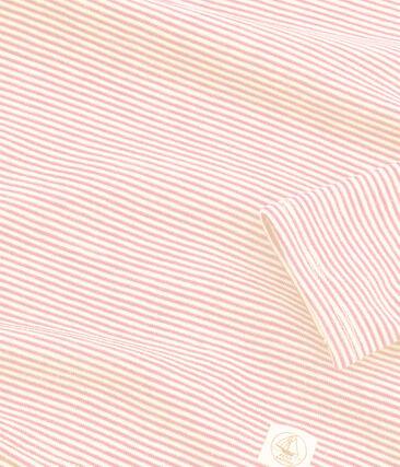 Langärmeliges T-Shirt aus Wolle und Baumwolle für Kinder rosa Charme / weiss Marshmallow