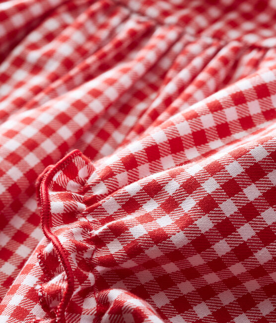 Langarmkleid und Bloomers mit Vichy-Karomuster rot Terkuit / weiss Marshmallow