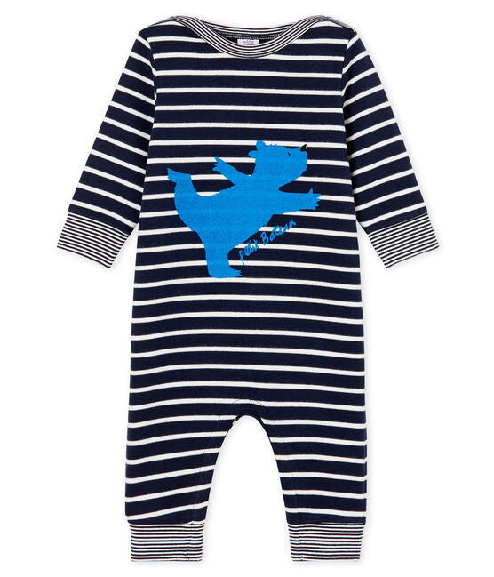 Baby-Langoverall für Jungen mit Streifen blau Smoking / weiss Marshmallow