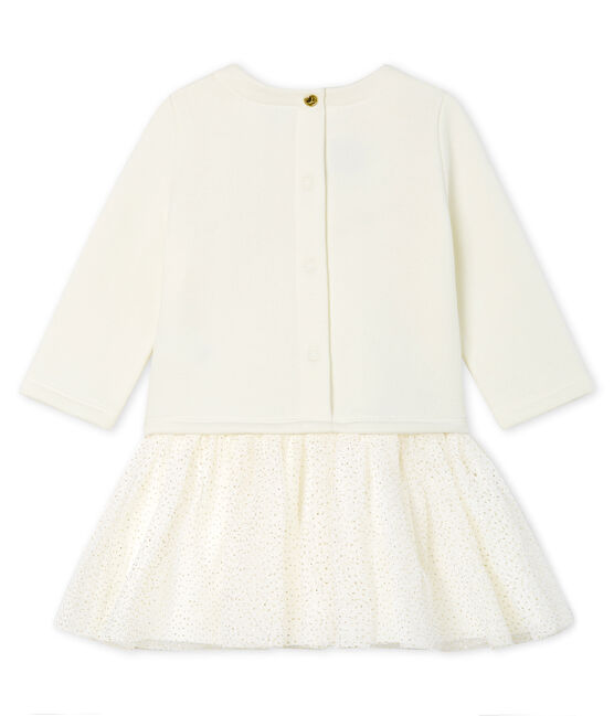 Langärmeliges Babykleid aus Materialmix für Mädchen weiss Marshmallow