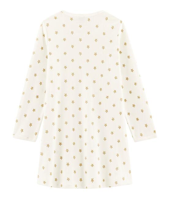 Rippstrick-Nachthemd mit Sternen für kleine Mädchen weiss Marshmallow / gelb Or