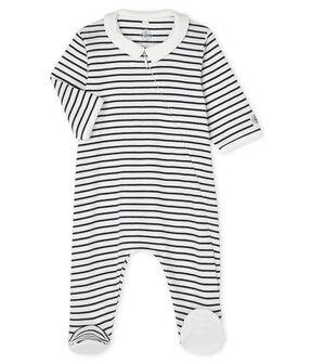 Baby-Strampler aus Rippstrick mit Reißverschluss weiss Marshmallow / blau Smoking