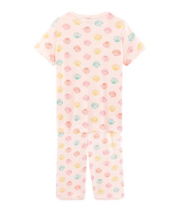 Kurz-Pyjama aus Rippstrick für kleine Mädchen rosa Fleur / weiss Multico