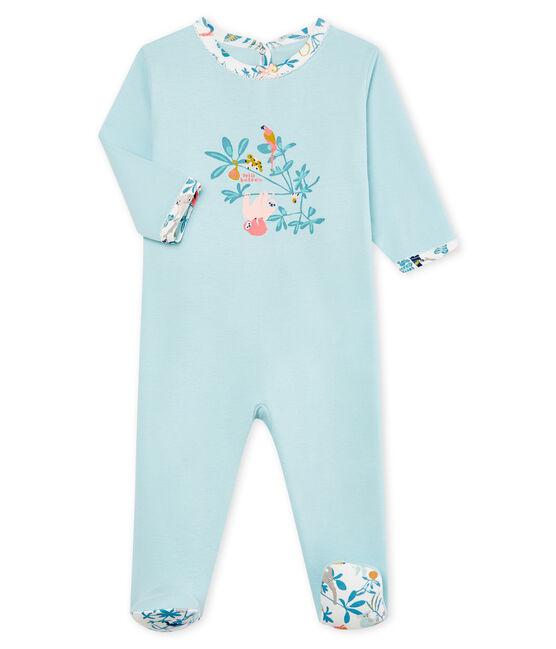 Baby-Strampler in Rippstrick für Mädchen blau Crystal
