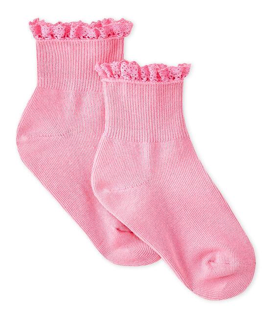Baby-Spitzenstrümpfe für Mädchen rosa Petal