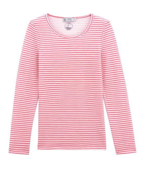 damen-langarmshirt aus woll/baumwollgemisch rosa Cheek / weiss Marshmallow