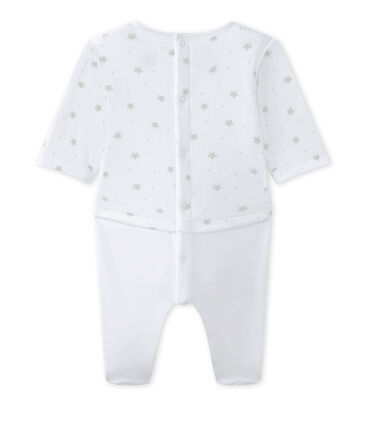 Unisex-Baby-Overall im Materialmix weiss Ecume / braun Shitake