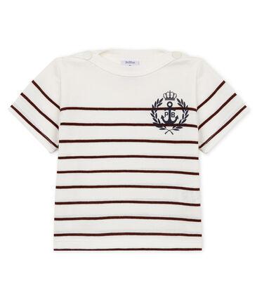Kurzärmeliges gestreiftes baby-t-shirt jungen weiss Marshmallow / rot Vino