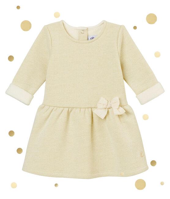 Glitzerndes Baby MädchenKleid aus Molton weiss Marshmallow / gelb Dore