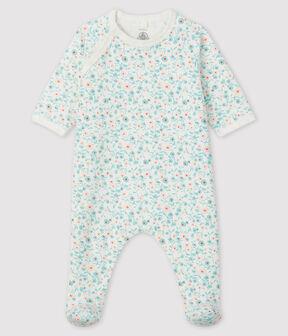 Baby-Strampler aus Molton mit Blumen-Motiv weiss Marshmallow / weiss Multico