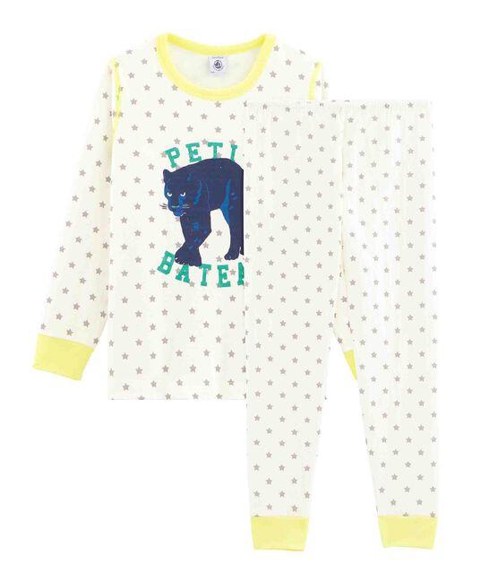 Pyjama aus Doppeljersey für kleine Jungen weiss Marshmallow / grau Gris
