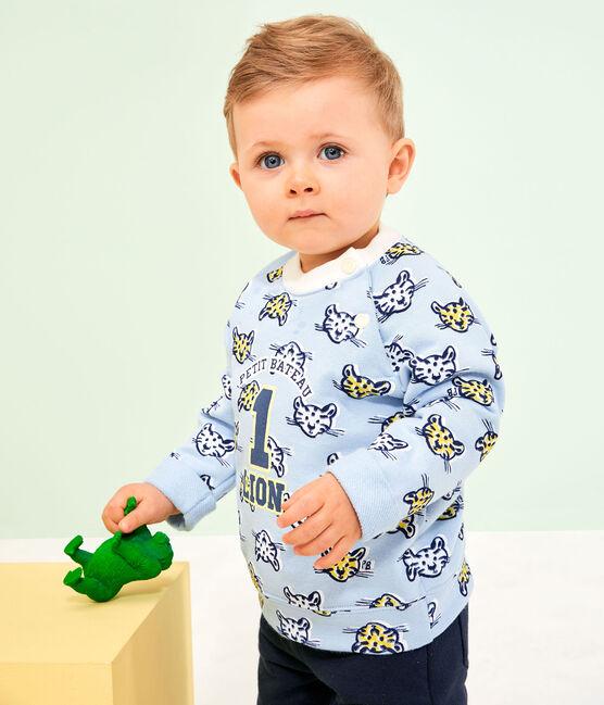 Baby-Sweatshirt aus Molton für Jungen blau Jasmin / weiss Multico