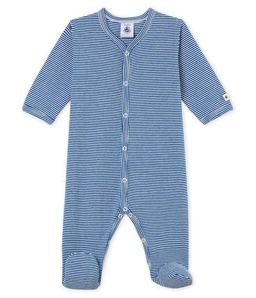 Baby Jungen Strampler blau Limoges / weiss Marshmallow