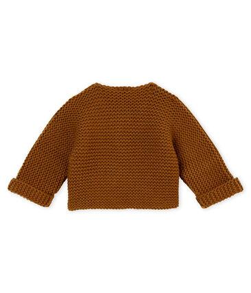 Unisex Baby Cardigan in Krausstrick braun Autumn
