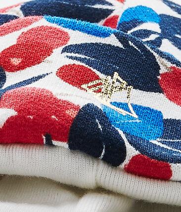 Bedruckte Baby-Mädchen-Mütze aus Molton weiss Marshmallow / weiss Multico