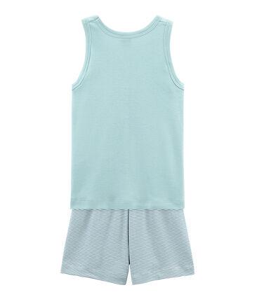 Rippstrick-Kurzpyjama für kleine Jungen blau Fontaine / weiss Marshmallow