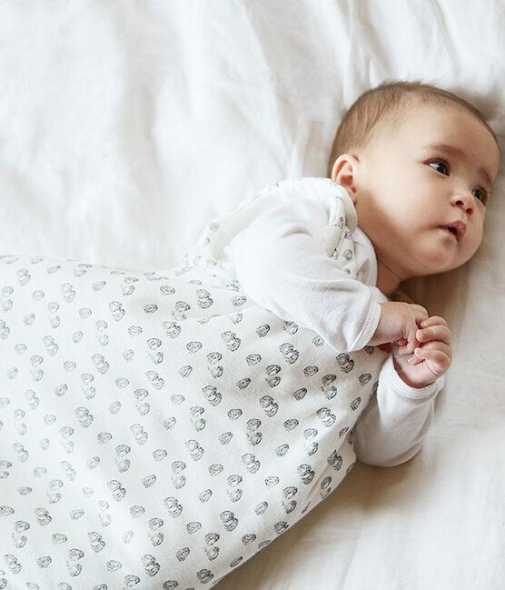 Babyschlafsack aus Velours weiss Marshmallow / grau Sculpture