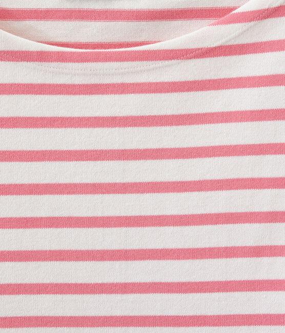 Klassisches streifenshirt weiss Marshmallow / rosa Petal