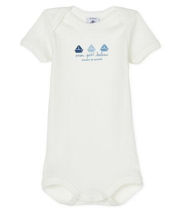 Kurzärmeliger Baby-Body für Jungen-Mädchen weiss Marshmallow