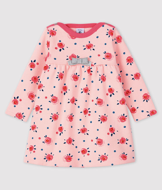 Langärmeliges Baby-Kleid für Mädchen rosa Minois / weiss Multico
